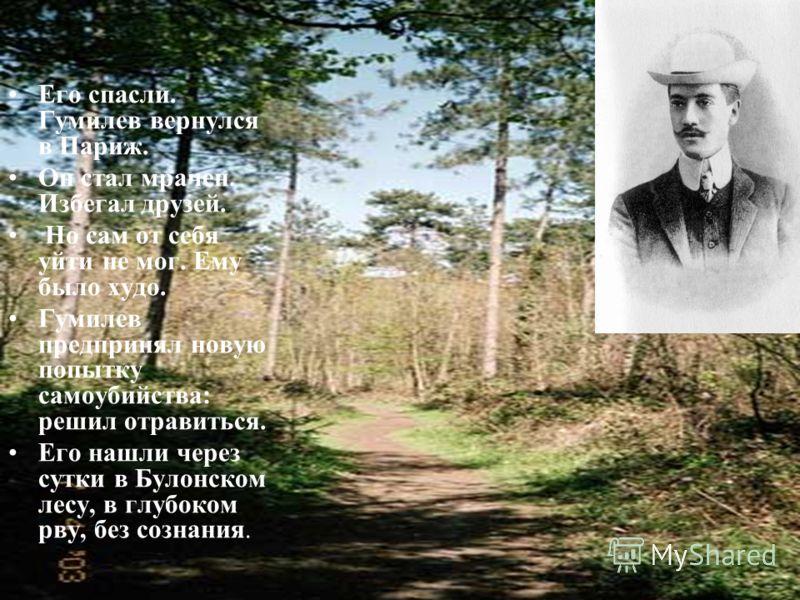 Его спасли. Гумилев вернулся в Париж. Он стал мрачен. Избегал друзей. Но сам от себя уйти не мог. Ему было худо. Гумилев предпринял новую попытку самоубийства: решил отравиться. Его нашли через сутки в Булонском лесу, в глубоком рву, без сознания.