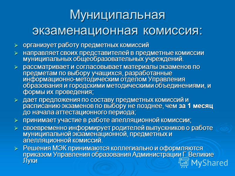 Муниципальная экзаменационная комиссия: организует работу предметных комиссий организует работу предметных комиссий направляет своих представителей в предметные комиссии муниципальных общеобразовательных учреждений. направляет своих представителей в