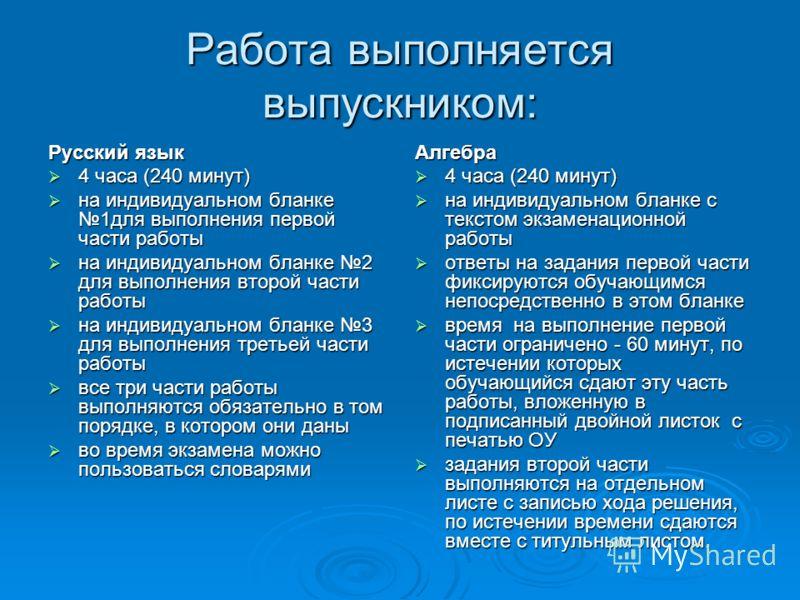 Работа выполняется выпускником: Русский язык 4 часа (240 минут) 4 часа (240 минут) на индивидуальном бланке 1для выполнения первой части работы на индивидуальном бланке 1для выполнения первой части работы на индивидуальном бланке 2 для выполнения вто
