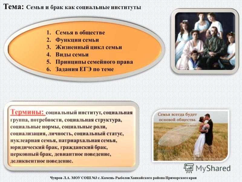 Тема семья и брак как социальные