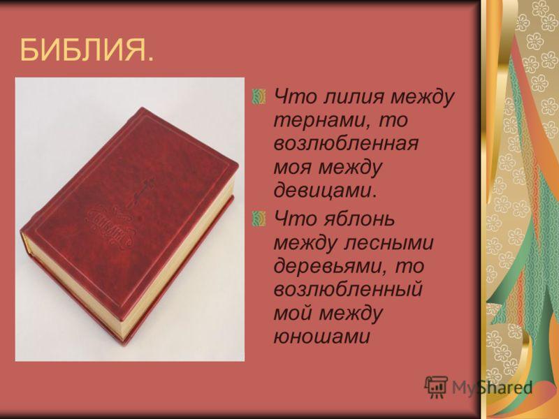 БИБЛИЯ. Что лилия между тернами, то возлюбленная моя между девицами. Что яблонь между лесными деревьями, то возлюбленный мой между юношами