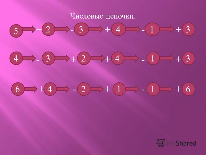 Числовые цепочки. + - + - + - + + - + + - + - + 23 5 413 143423 611246