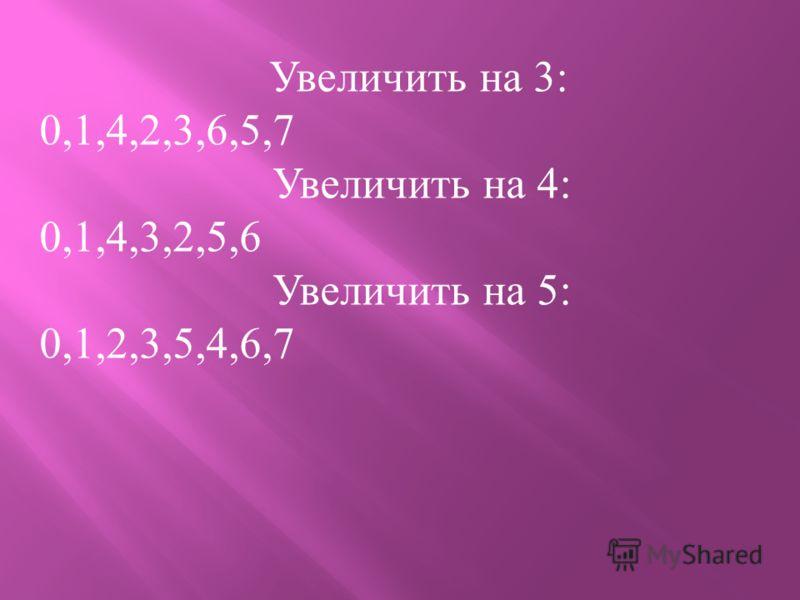 Увеличить на 3: 0,1,4,2,3,6,5,7 Увеличить на 4: 0,1,4,3,2,5,6 Увеличить на 5: 0,1,2,3,5,4,6,7