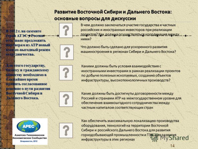 В 2012 г. на саммите стран АТЭС у России есть шанс предложить партнерам из АТР новый взаимо-выгодный режим сотрудничества. Для этого государству, бизнесу и гражданскому обществу необходимо в ближайшее время принять согласованное решение о пути развит