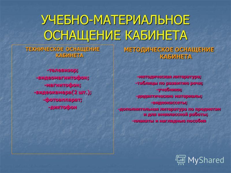 УЧЕБНО-МАТЕРИАЛЬНОЕ ОСНАЩЕНИЕ КАБИНЕТА ТЕХНИЧЕСКОЕ ОСНАЩЕНИЕ КАБИНЕТА -телевизор;-видеомагнитофон;-магнитофон; -видеокамера(2 шт.); -фотоаппарат;-диктофон МЕТОДИЧЕСКОЕ ОСНАЩЕНИЕ КАБИНЕТА -методическая литература; -таблицы по развитию речи; -учебники;