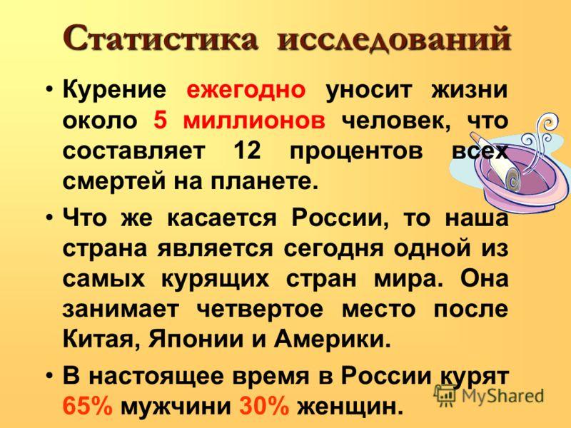 Статистика исследований Курение ежегодно уносит жизни около 5 миллионов человек, что составляет 12 процентов всех смертей на планете. Что же касается России, то наша страна является сегодня одной из самых курящих стран мира. Она занимает четвертое ме