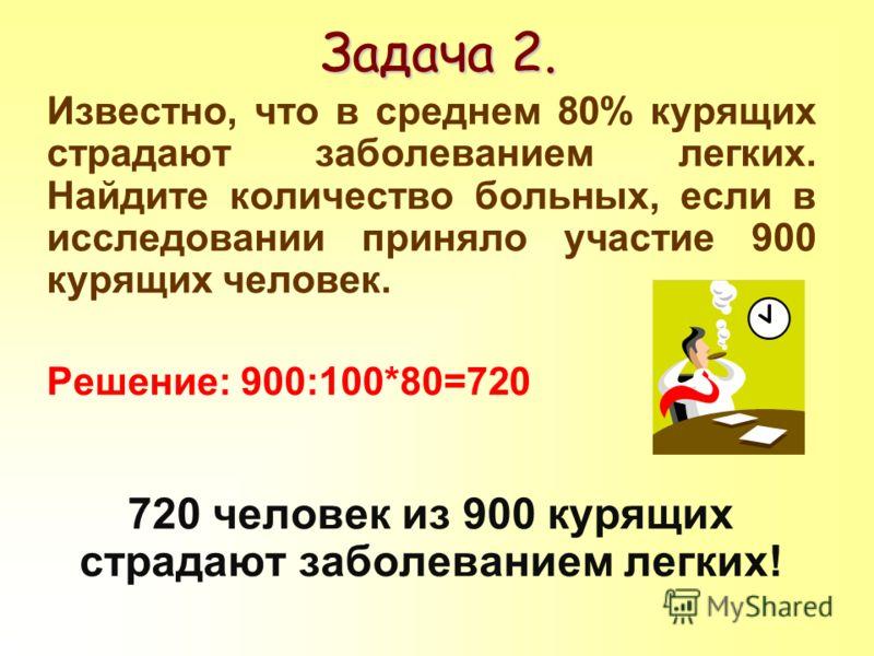 Известно, что в среднем 80% курящих страдают заболеванием легких. Найдите количество больных, если в исследовании приняло участие 900 курящих человек. Решение: 900:100*80=720 720 человек из 900 курящих страдают заболеванием легких! Задача 2.