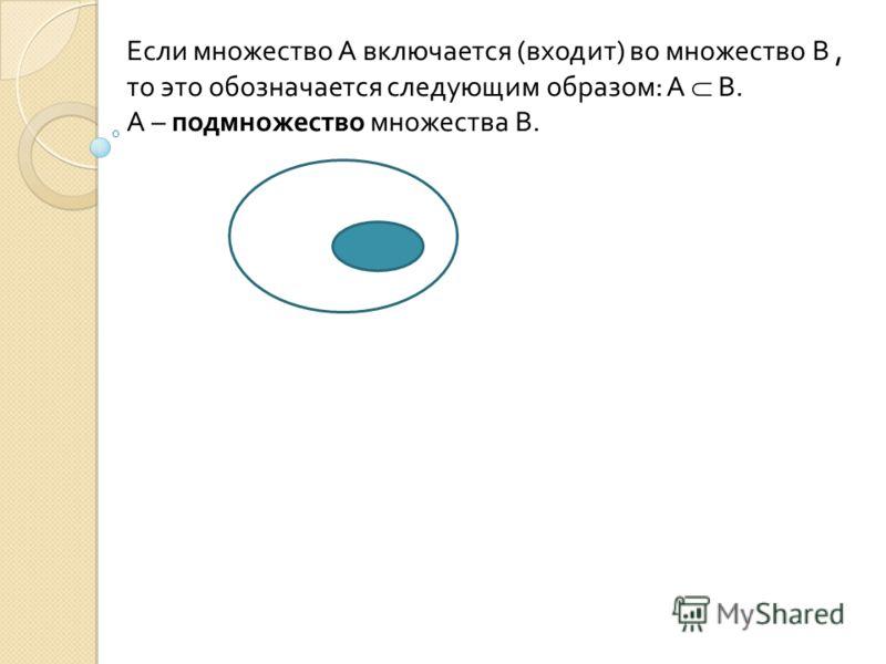 Если множество А включается (входит) во множество В, то это обозначается следующим образом: А В. А – подмножество множества В.