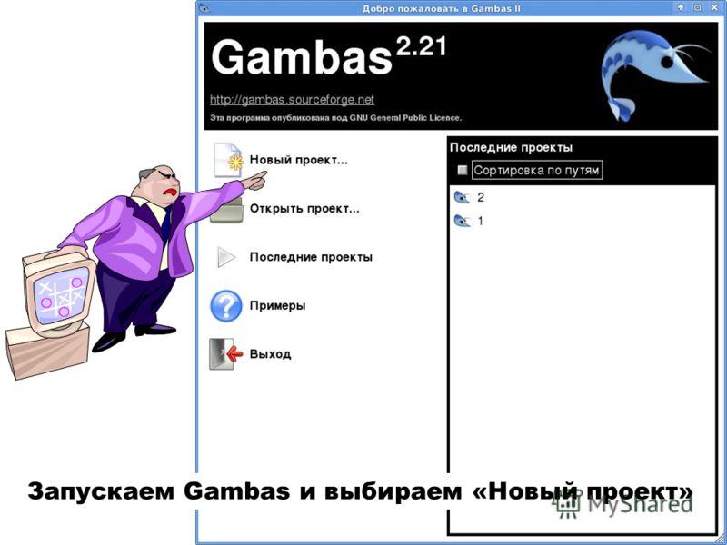 Запускаем Gambas и выбираем «Новый проект»