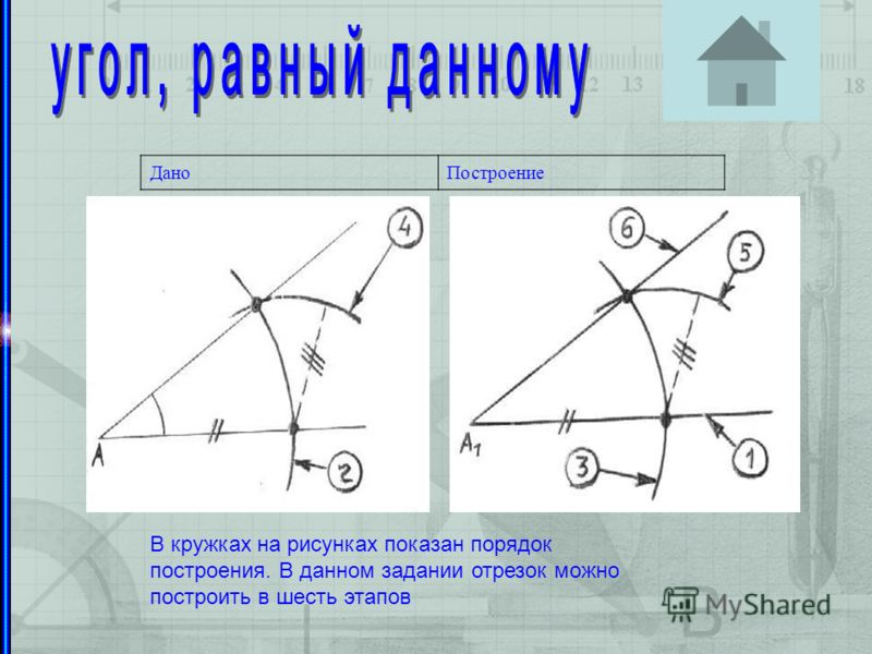 Организоение за решением задач ДаноПостроение В кружках на рисунках показан порядок построения. В данном задании отрезок можно построить в шесть этапов