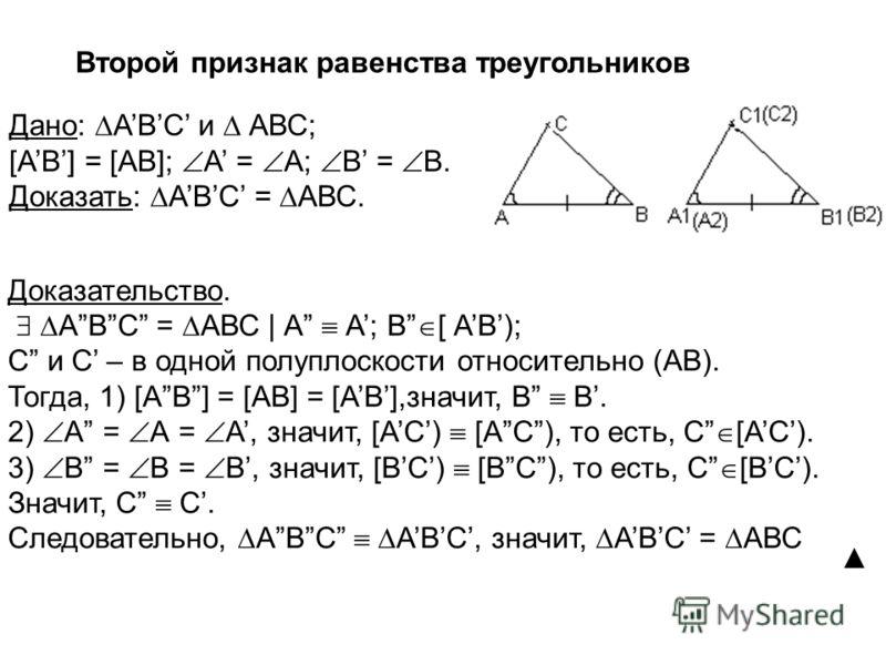 Второй признак равенства треугольников Доказательство. АВС = АВС | А А; В [ АВ); С и С – в одной полуплоскости относительно (АВ). Тогда, 1) [АВ] = [AB] = [АВ],значит, В В. 2) А = А = А, значит, [АC) [АC), то есть, С [АC). 3) В = В = В, значит, [ВC) [