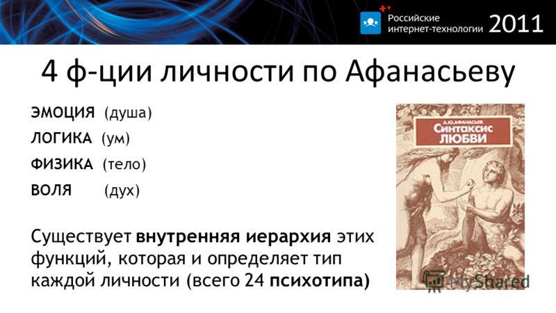 4 ф-ции личности по Афанасьеву ЭМОЦИЯ (душа) ЛОГИКА (ум) ФИЗИКА (тело) ВОЛЯ (дух) Существует внутренняя иерархия этих функций, которая и определяет тип каждой личности (всего 24 психотипа)