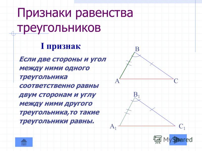 Определение равенства треугольников Два треугольника называются равными, если их можно совместить наложением. B A C b ac