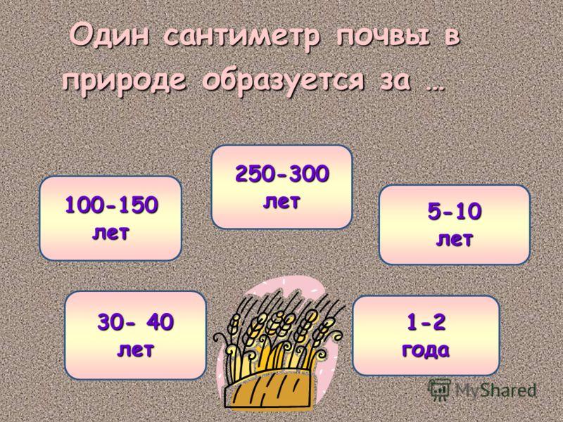 Один сантиметр почвы в природе образуется за … 250-300 лет 250-300 лет 100-150 лет 5-10 лет 30- 40 30- 40 лет 1-2 года
