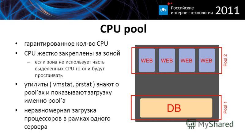 CPU pool гарантированное кол-во CPU CPU жестко закреплены за зоной – если зона не использует часть выделенных CPU то они будут простаивать утилиты ( vmstat, prstat ) знают о poolах и показывают загрузку именно poolа неравномерная загрузка процессоров