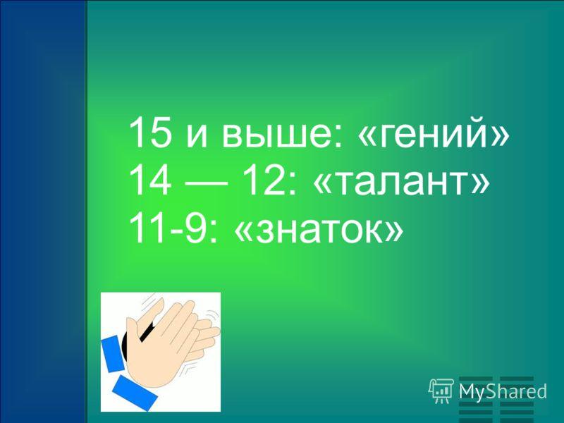15 и выше: «гений» 14 12: «талант» 11-9: «знаток»