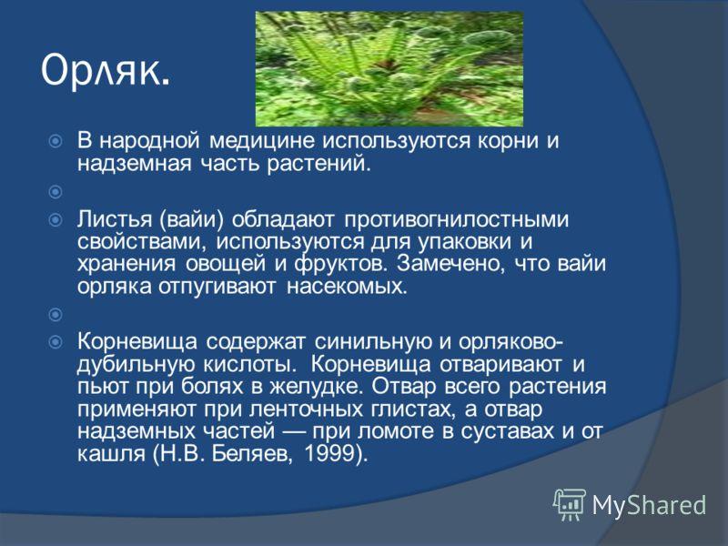 Орляк. В народной медицине используются корни и надземная часть растений. Листья (вайи) обладают противогнилостными свойствами, используются для упаковки и хранения овощей и фруктов. Замечено, что вайи орляка отпугивают насекомых. Корневища содержат