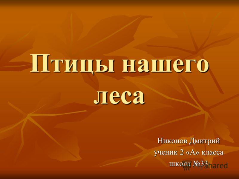 Птицы нашего леса Никонов Дмитрий ученик 2 «А» класса школа 33
