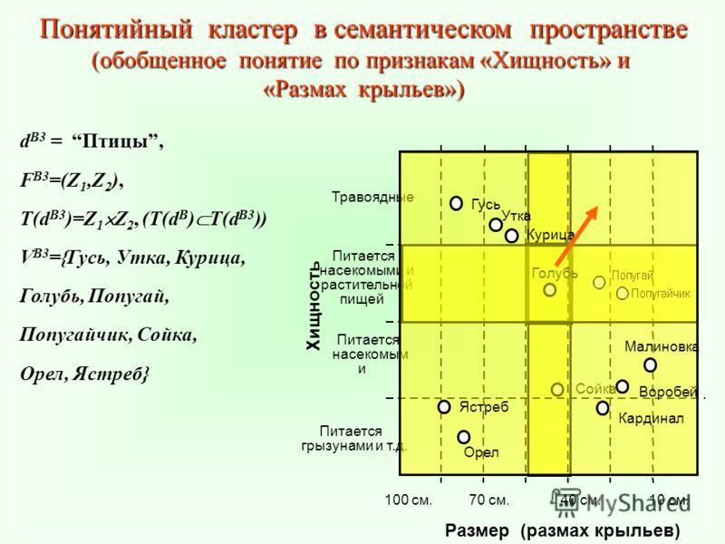 Понятийный кластер в семантическом пространстве (обобщенное понятие по признакам «Хищность» и «Размах крыльев») d B3 = Птицы, F B3 =(Z 1,Z 2 ), T(d B3 )=Z 1 Z 2, (T(d B ) T(d B3 )) V B3 ={Гусь, Утка, Курица, Голубь, Попугай, Попугайчик, Сойка, Орел,