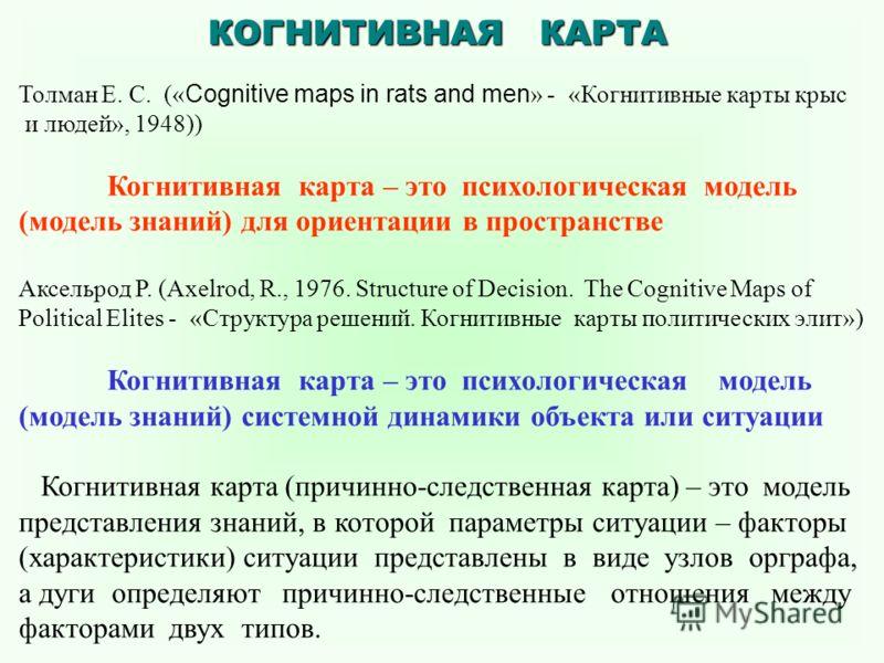 Толман Е. С. (« Cognitive maps in rats and men » - «Когнитивные карты крыс и людей», 1948)) Когнитивная карта – это психологическая модель (модель знаний) для ориентации в пространстве Аксельрод Р. (Axelrod, R., 1976. Structure of Decision. The Cogni