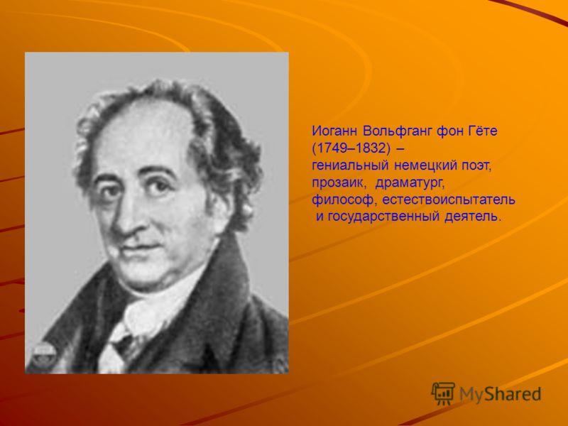 Иоганн Вольфганг фон Гёте (1749–1832) – гениальный немецкий поэт, прозаик, драматург, философ, естествоиспытатель и государственный деятель.