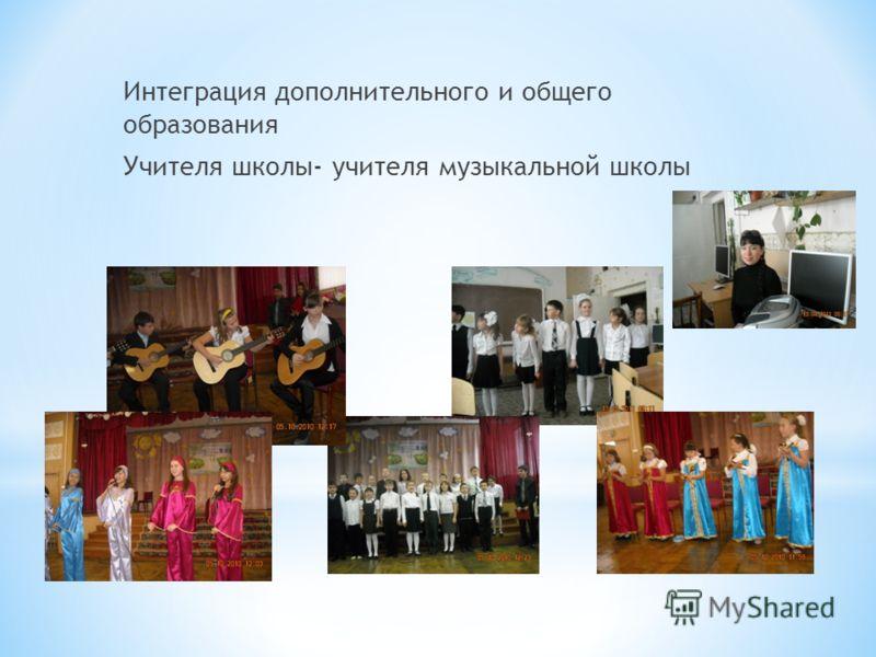 Интеграция дополнительного и общего образования Учителя школы- учителя музыкальной школы