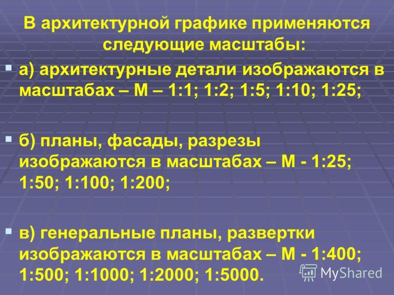 В архитектурной графике применяются следующие масштабы: а) архитектурные детали изображаются в масштабах – М – 1:1; 1:2; 1:5; 1:10; 1:25; б) планы, фасады, разрезы изображаются в масштабах – М - 1:25; 1:50; 1:100; 1:200; в) генеральные планы, разверт