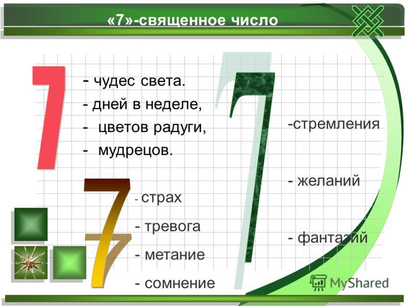 «7»-священное число - чудес света. - дней в неделе, -цветов радуги, -мудрецов. - страх - тревога - метание - сомнение -стремления - желаний - фантазий
