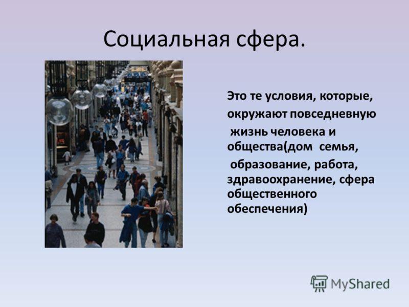 Социальная сфера. Это те условия, которые, окружают повседневную жизнь человека и общества(дом семья, образование, работа, здравоохранение, сфера общественного обеспечения)