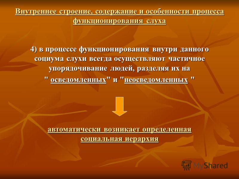 4) в процессе функционирования внутри данного социума слухи всегда осуществляют частичное упорядочивание людей, разделяя их на