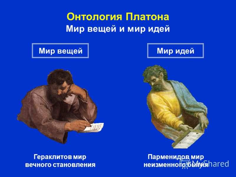 Онтология Платона Мир вещей и мир идей Гераклитов мир вечного становления Парменидов мир неизменного бытия Мир вещейМир идей