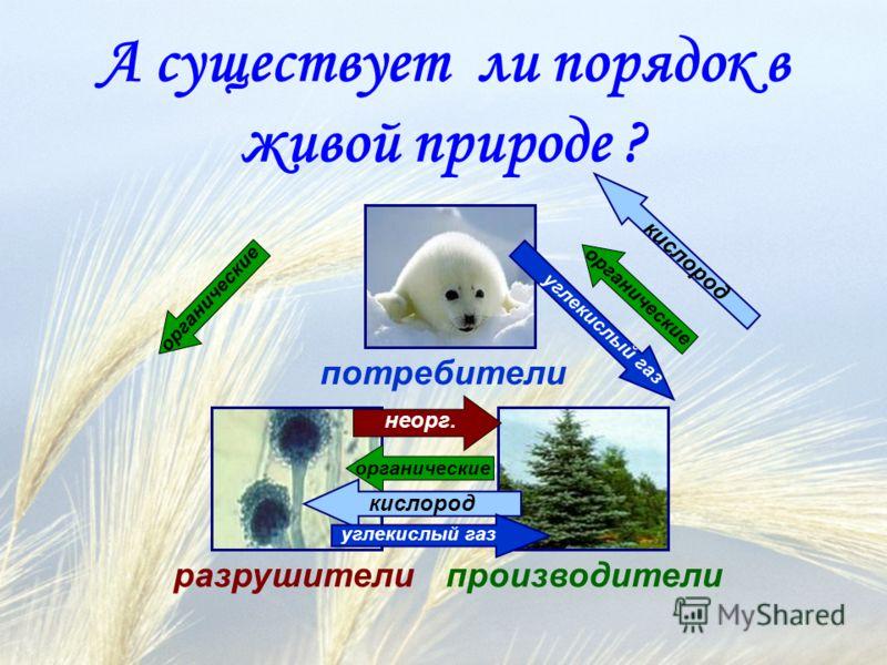 А существует ли порядок в живой природе ? производители потребители разрушители органические кислород органические неорг. углекислый газ органические