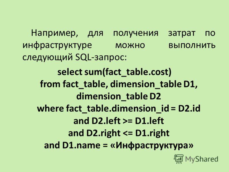 Например, для получения затрат по инфраструктуре можно выполнить следующий SQL-запрос: select sum(fact_table.cost) from fact_table, dimension_table D1, dimension_table D2 where fact_table.dimension_id = D2.id and D2.left >= D1.left and D2.right