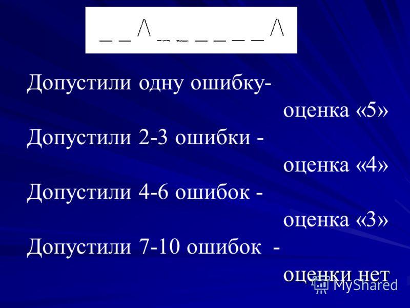 оценки нет Допустили одну ошибку- оценка «5» Допустили 2-3 ошибки - оценка «4» Допустили 4-6 ошибок - оценка «3» Допустили 7-10 ошибок - оценки нет