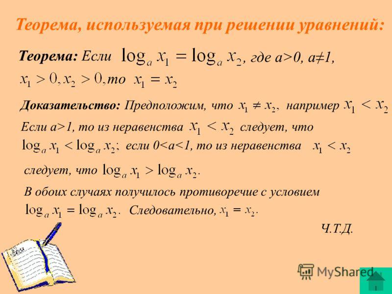 Теорема, используемая при решении уравнений: Теорема: Если, где a>0, a1, то Доказательство: Предположим, чтонапример Если a>1, то из неравенстваследует, что если 0