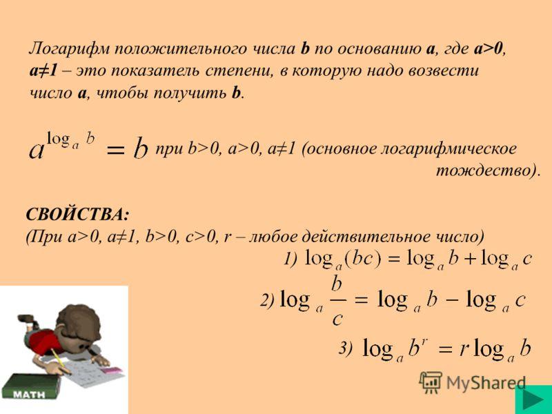 Логарифм положительного числа b по основанию a, где a>0, a1 – это показатель степени, в которую надо возвести число a, чтобы получить b. при b>0, a>0, a1 (основное логарифмическое тождество). СВОЙСТВА: (При a>0, a1, b>0, c>0, r – любое действительное