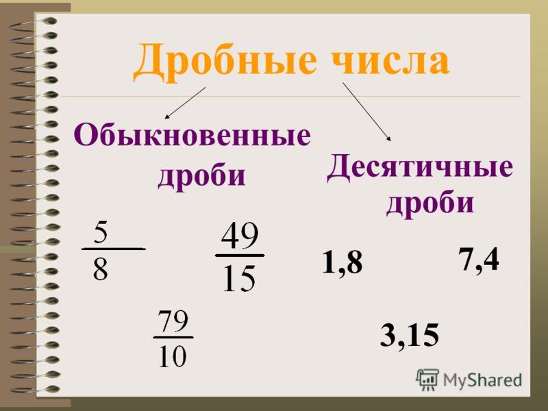 Дробные числа Обыкновенные дроби Десятичные дроби 1,8 7,4 3,15