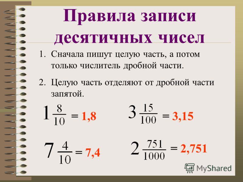 Правила записи десятичных чисел 1.Сначала пишут целую часть, а потом только числитель дробной части. 2.Целую часть отделяют от дробной части запятой. = 1,8 = 7,4 = 3,15 = 2,751