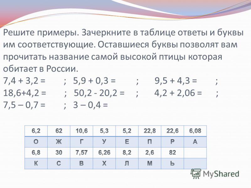 Решите примеры. Зачеркните в таблице ответы и буквы им соответствующие. Оставшиеся буквы позволят вам прочитать название самой высокой птицы которая обитает в России. 7,4 + 3,2 = ; 5,9 + 0,3 = ; 9,5 + 4,3 = ; 18,6+4,2 = ; 50,2 - 20,2 = ; 4,2 + 2,06 =