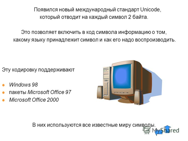 Появился новый международный стандарт Unicode, который отводит на каждый символ 2 байта. Это позволяет включить в код символа информацию о том, какому языку принадлежит символ и как его надо воспроизводить. Эту кодировку поддерживают Windows 98 пакет