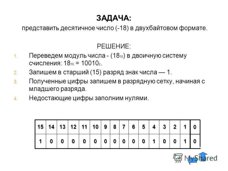 ЗАДАЧА: представить десятичное число (-18) в двухбайтовом формате. РЕШЕНИЕ: 1. 1. Переведем модуль числа - (18 10 ) в двоичную систему счисления: 18 10 = 10010 2. 2. 2. Запишем в старший (15) разряд знак числа 1. 3. 3. Полученные цифры запишем в разр