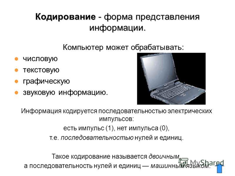 Кодирование - форма представления информации. Компьютер может обрабатывать: числовую текстовую графическую звуковую информацию. Информация кодируется последовательностью электрических импульсов: есть импульс (1), нет импульса (0), т.е. последовательн