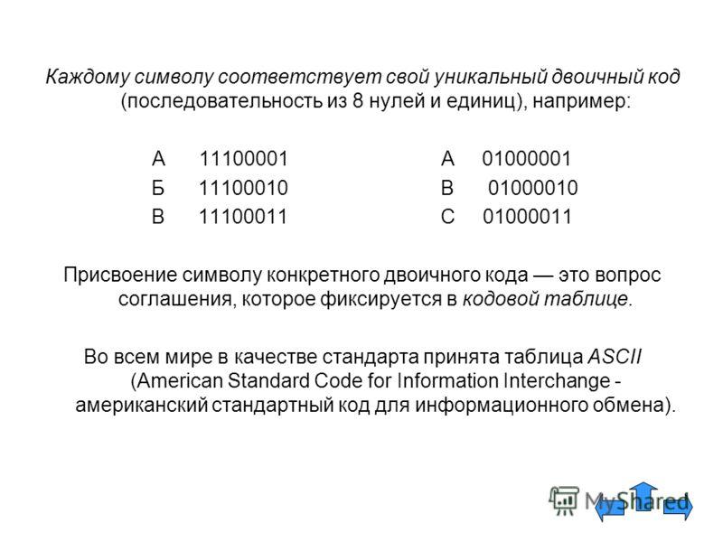 Каждому символу соответствует свой уникальный двоичный код (последовательность из 8 нулей и единиц), например: А 11100001А 01000001 Б 11100010 В 01000010 В 11100011С 01000011 Присвоение символу конкретного двоичного кода это вопрос соглашения, которо