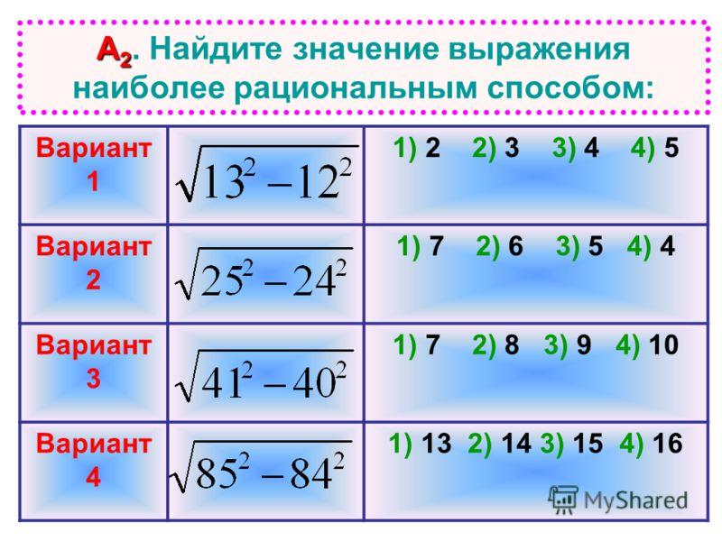 А 2 А 2. Найдите значение выражения наиболее рациональным способом: Вариант 1 1) 2 2) 3 3) 4 4) 5 Вариант 2 1) 7 2) 6 3) 5 4) 4 Вариант 3 1) 7 2) 8 3) 9 4) 10 Вариант 4 1) 13 2) 14 3) 15 4) 16
