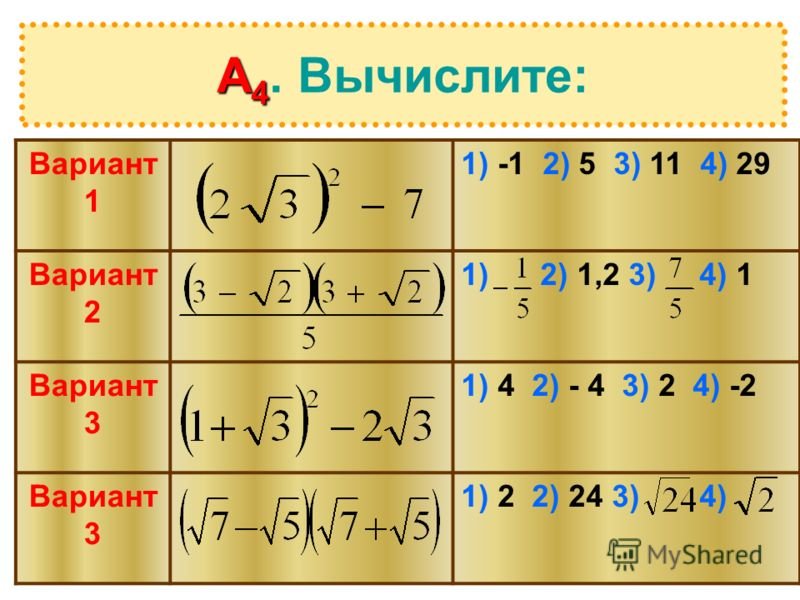 А 4 А 4. Вычислите: Вариант 1 1) -1 2) 5 3) 11 4) 29 Вариант 2 1) 2) 1,2 3) 4) 1 Вариант 3 1) 4 2) - 4 3) 2 4) -2 Вариант 3 1) 2 2) 24 3) 4)
