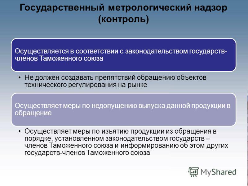 Государственный метрологический надзор (контроль) Осуществляется в соответствии с законодательством государств- членов Таможенного союза Не должен создавать препятствий обращению объектов технического регулирования на рынке Осуществляет меры по недоп