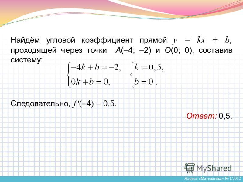 Журнал «Математика» 1/2012 Найдём угловой коэффициент прямой y = kx + b, проходящей через точки А(–4; –2) и О(0; 0), составив систему: Следовательно, f '( –4 ) = 0,5. Ответ: 0,5.