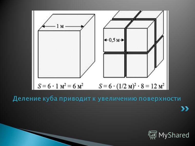 Деление куба приводит к увеличению поверхности