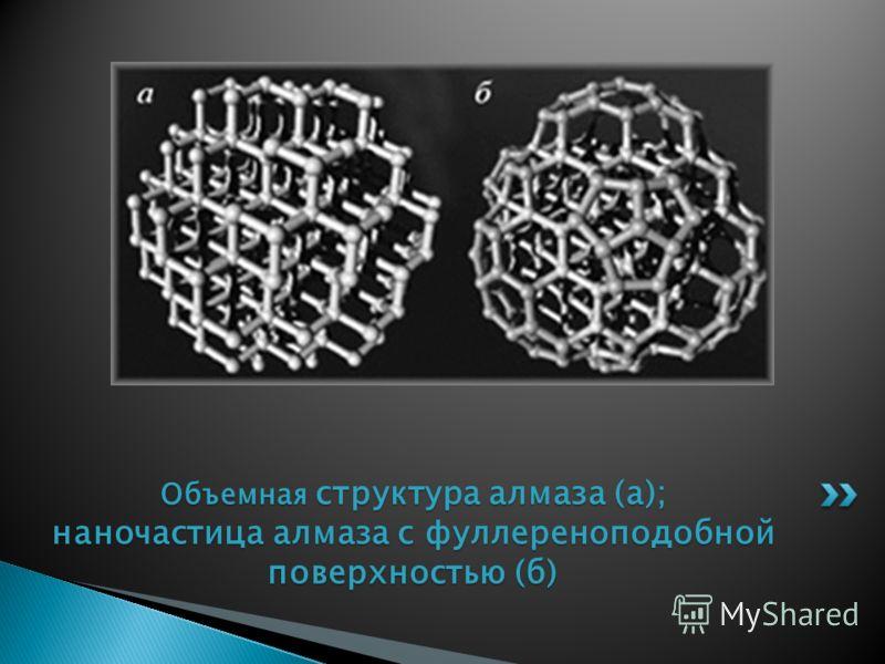 Объемная структура алмаза (а); наночастица алмаза с фуллереноподобной поверхностью (б)