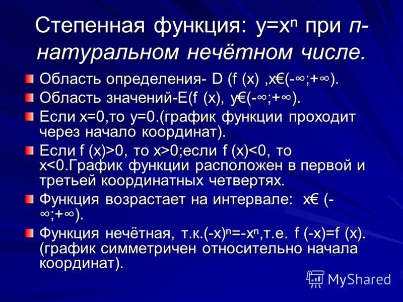 График функции y=x(п- чётное число)